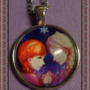 Frozen Necklace Elsa And Anna Design For Girls